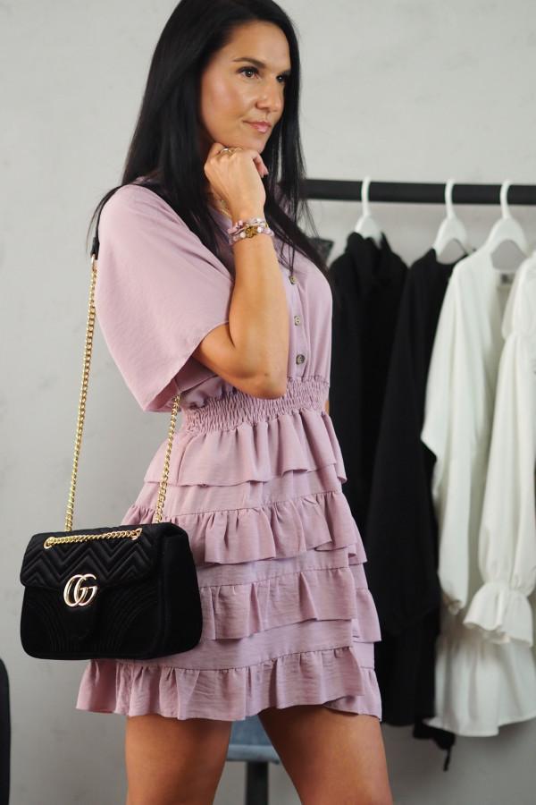 Sukienka różowa z falbanami 1