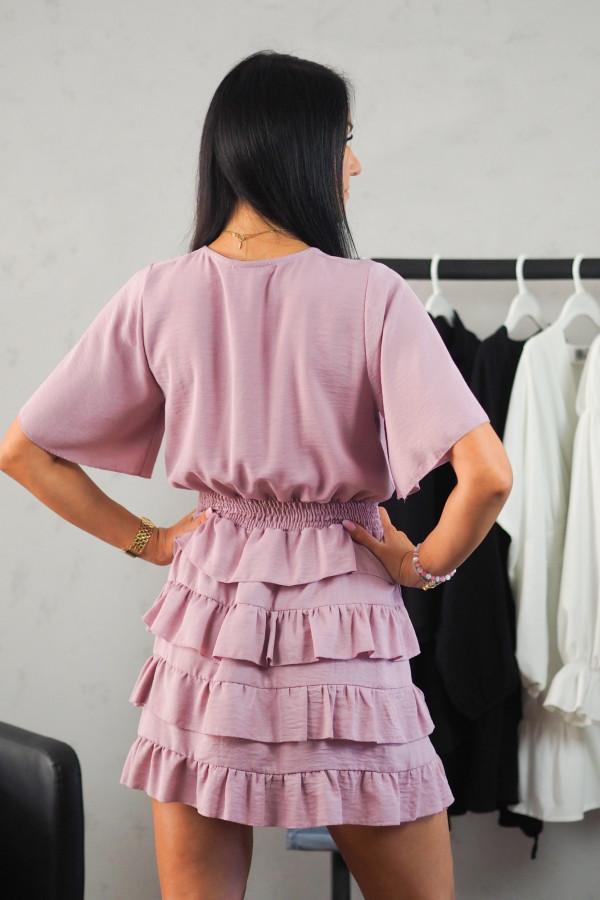 Sukienka różowa z falbanami 3