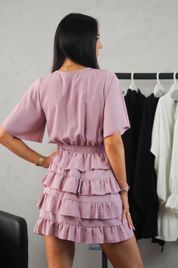 Sukienka różowa z falbanami 4