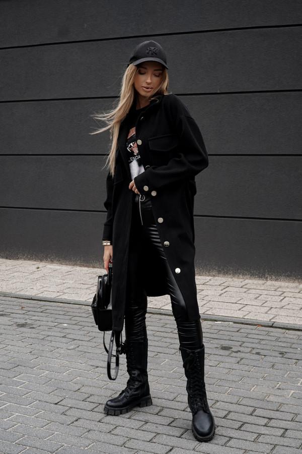 Płaszczyk o koszulowym kroju czarny 1