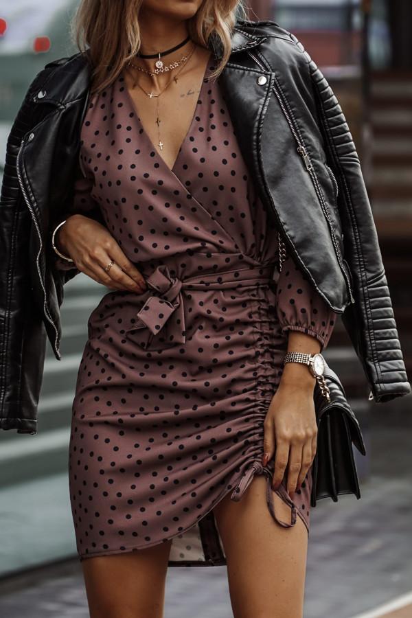 Sukienka z regulowaną długością w groszki